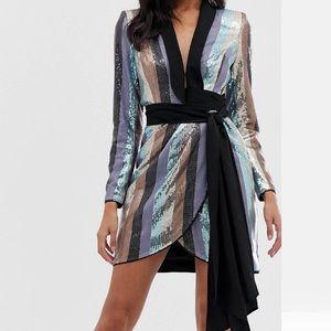 ASOS Tux Mini Dress in Sequins
